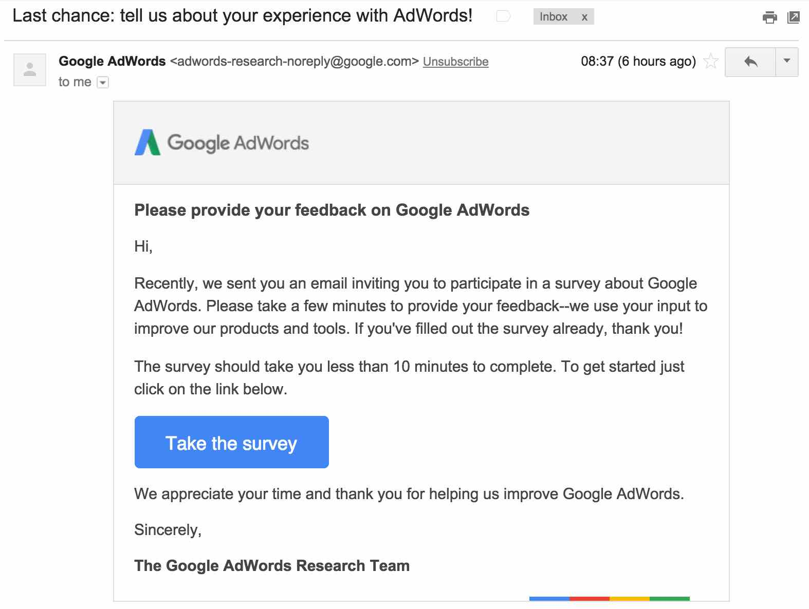 Please provide your feedback on Google AdWords